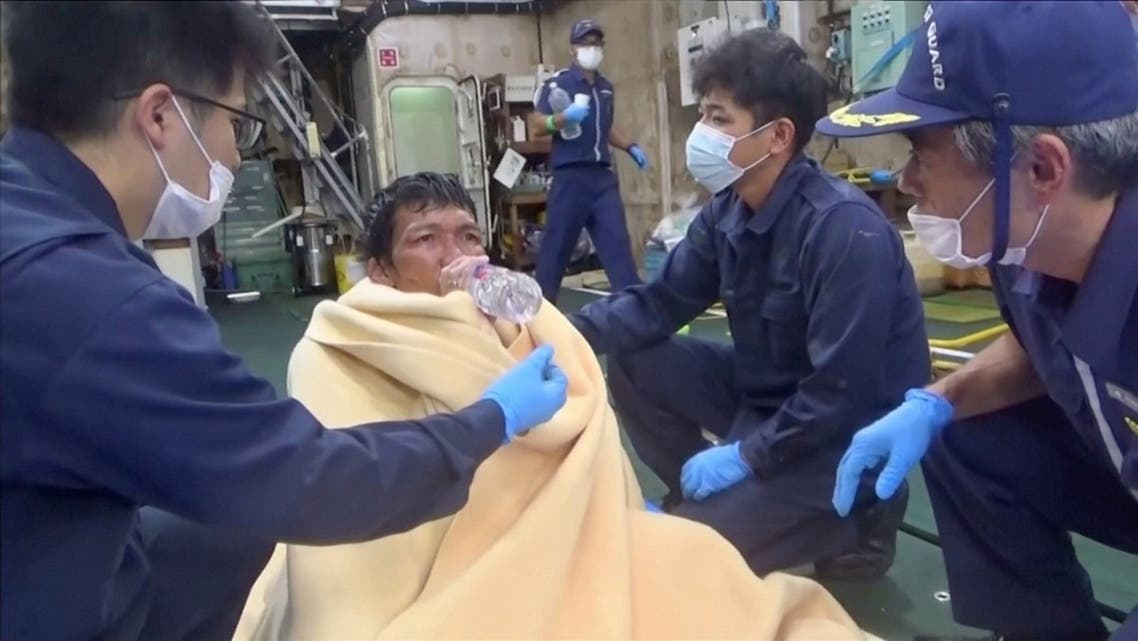 A Filipino crew member from the missing livestock ship, Gulf Livestock 1, is seen after being rescued by the Japan Coast Guard off the coast of Japan. (Reuters)