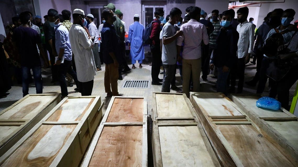 Coffins of victims are seen at a hospital, after a gas pipeline blast at a mosque in Narayanganj, near Dhaka, Bangladesh, September 5, 2020. (Reuters)