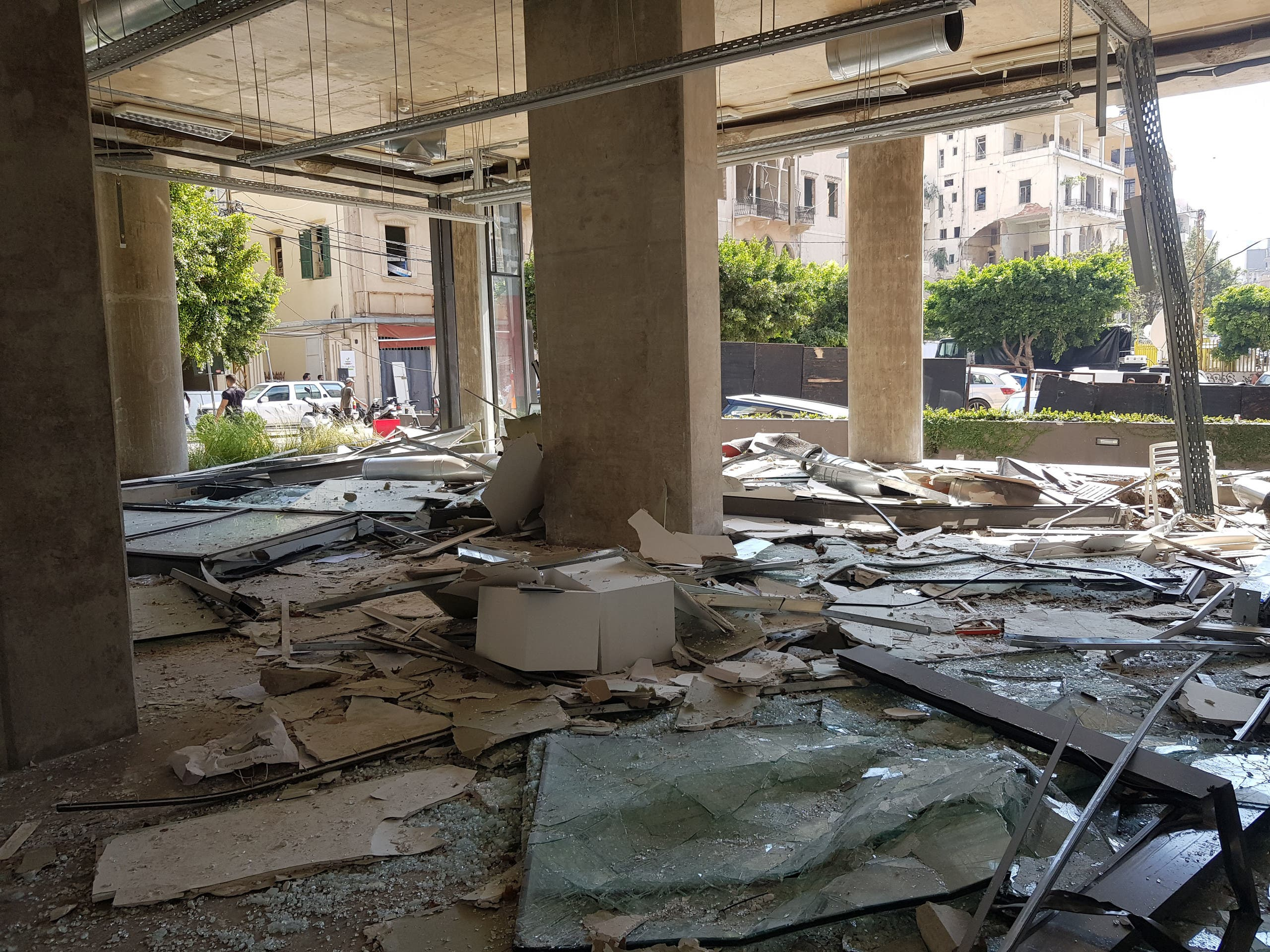 Galerie Tanit after the explosion in Beirut, Lebanon, on August 4, showing blown out walls and glass. (Photo courtesy of Abed Al Kadiri.)