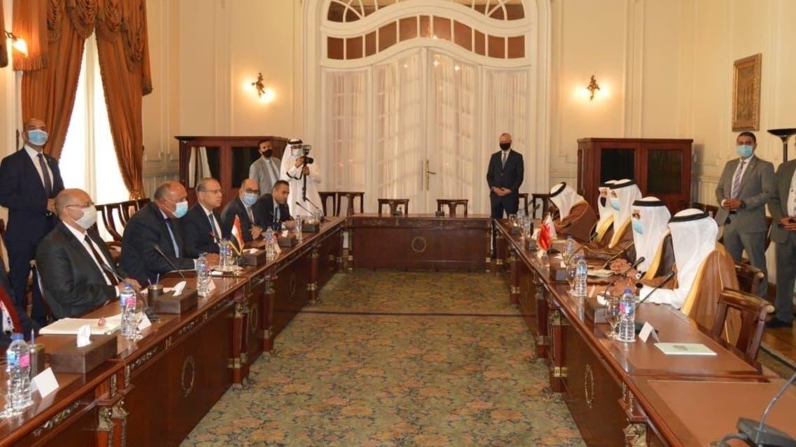 صورة لمباحثات وزيري خارجية مصر والبحرين