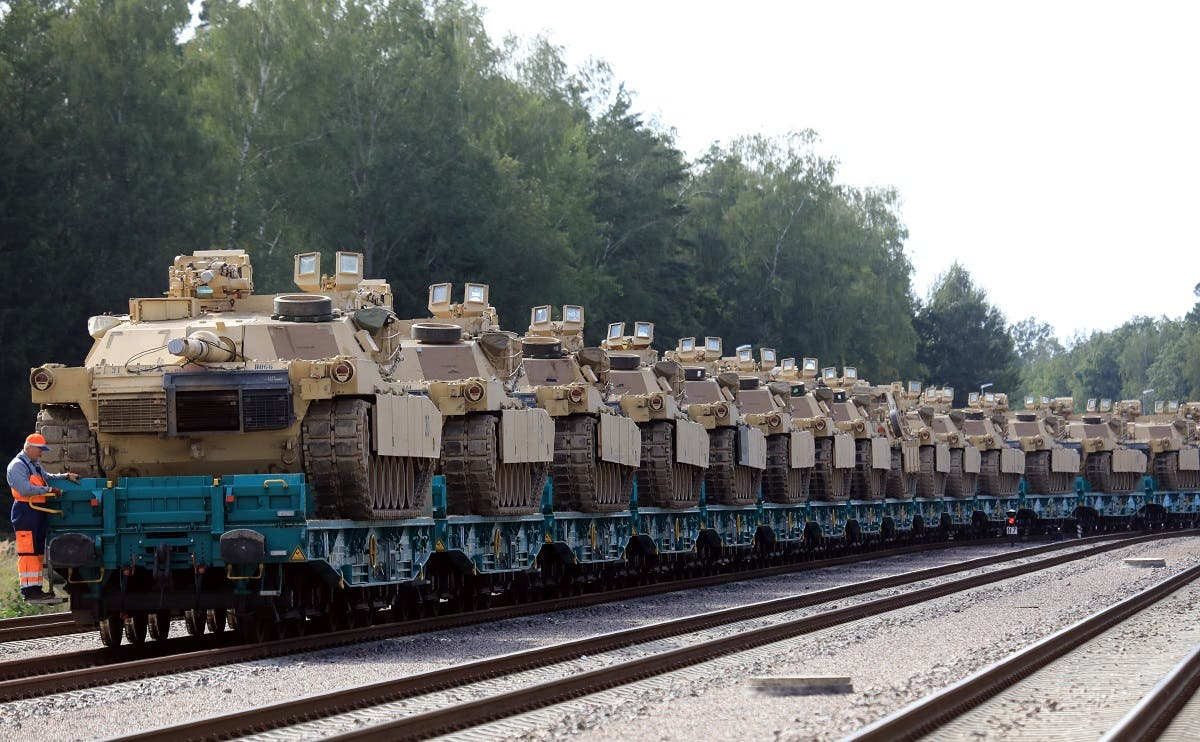 US Army Abrams tanks of the 2nd Brigade 69th Regiment 2nd Battalion are pictured at Mockava railway station in Lithuania, on September 5, 2020. (AFP)