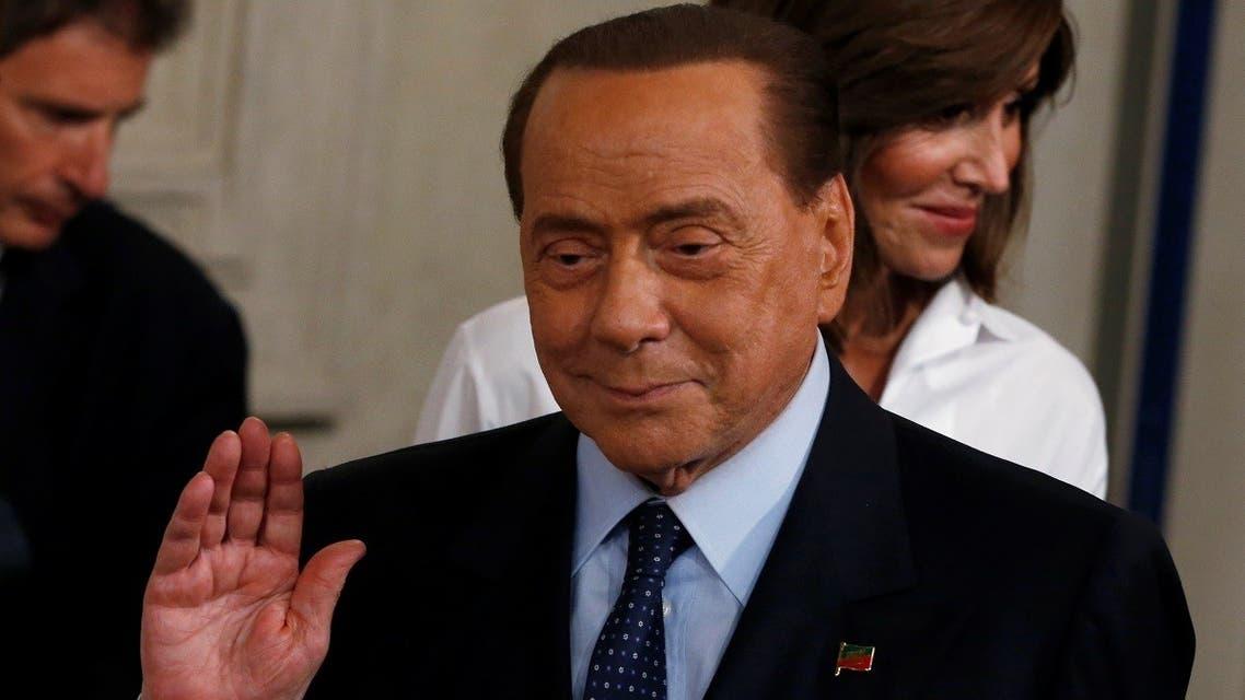 Forza Italia leader Silvio Berlusconi gestures after consultations with Italian President Sergio Mattarella in Rome, Italy, August 28, 2019. (Reuters)