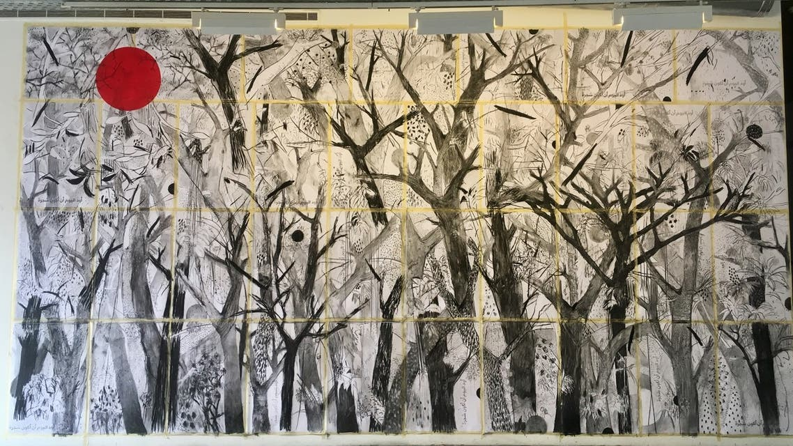 A photo of the first finished mural of Today, I Would Like to be a Tree, spanning 4 x 7 meters. (Maghie Ghali.)