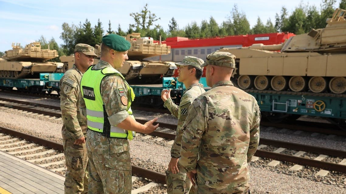 Members of the US Army 2nd Brigade 69th Regiment 2nd Battalion are pictured at Mockava railway station in Lithuania, on September 5, 2020. (AFP)