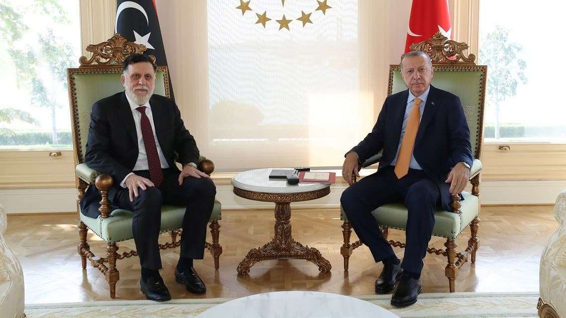Erdogan meeting with Libya's GNA head Fayez al-Sarraj in Istanbul, Turkey, September 6, 2020. (Murat Cetinmuhurdar/PPO/Handout via Reuters)