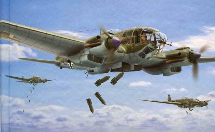 لوحة تجسد طائرات ألمانية أثناء قيامها بقصف جوي