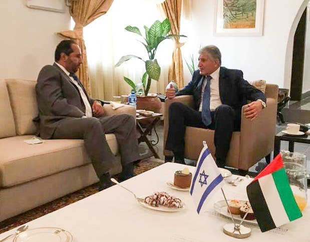 UAE official Khalifa Al Mehrizi, left, with Israeli official Shimon Ben-Shoshan, right, in Nigeria. (Twitter)