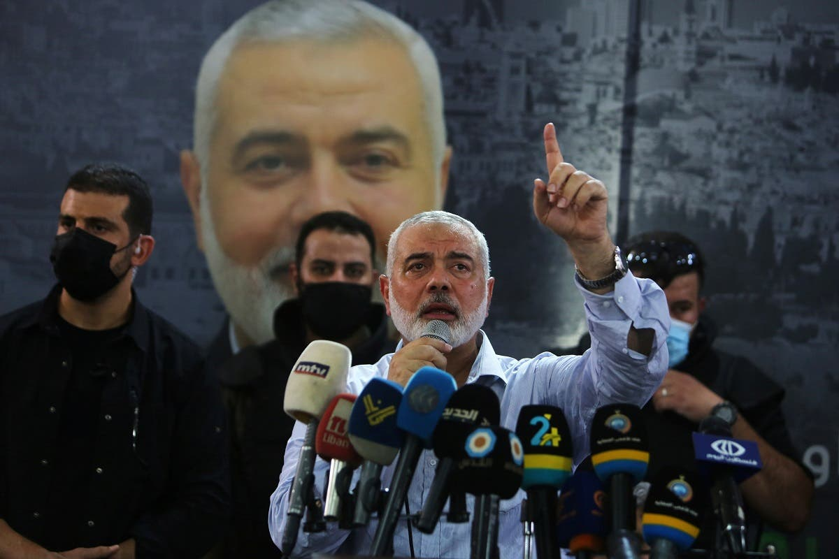 Hamas' top leader, Ismail Haniyeh, gestures as speaks during his visit at Ain el Hilweh Palestinian refugee camp in Sidon, Lebanon September 6, 2020. (Reuters)