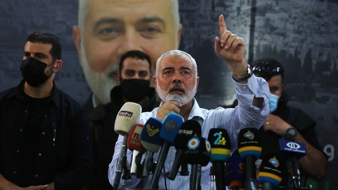 Hamas' top leader, Ismail Haniyeh, gestures as speaks during his visit at Ain el Hilweh Palestinian refugee camp in Sidon, Lebanon September 6, 2020. (Reuters)
