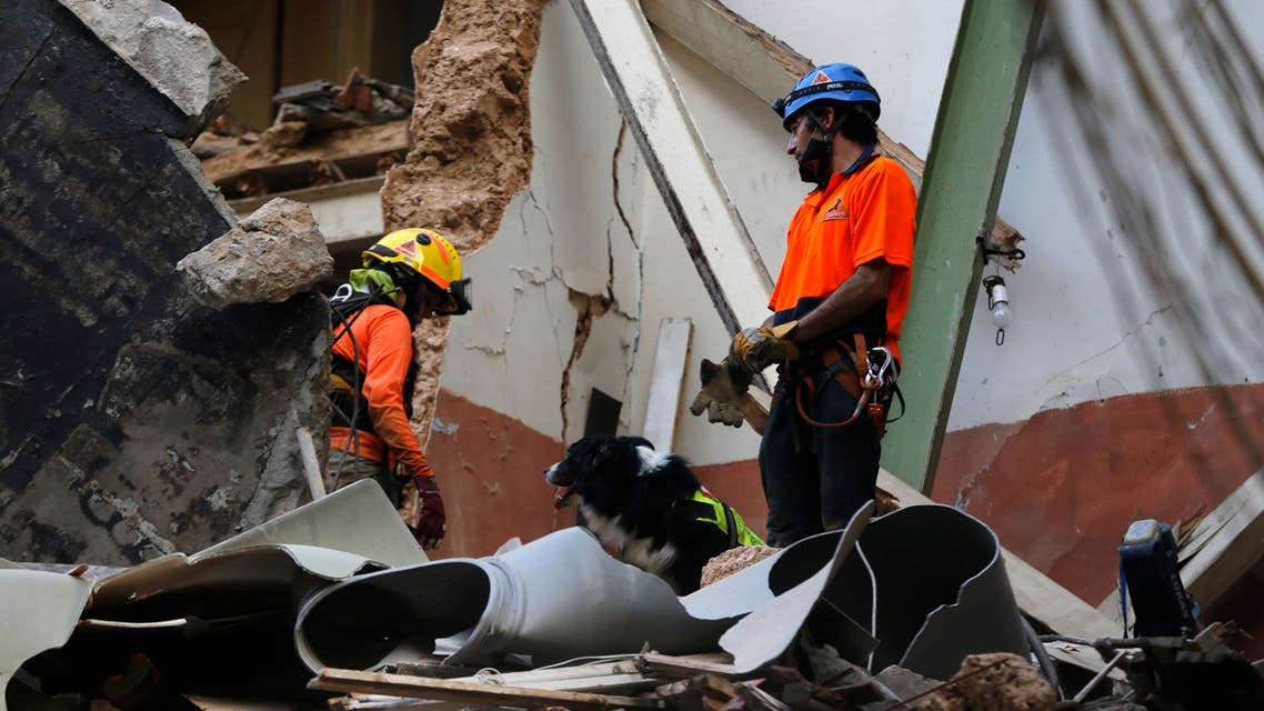 Chilean rescuers with their dog search in the rubble of a building that was collapsed in last month's massive explosion. (AP)