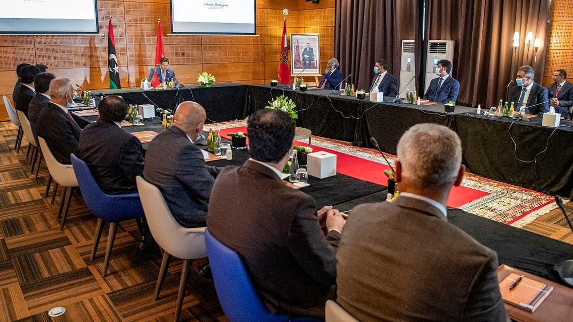 Nasser Bourita, Morocco's Minister of Foreign Affairs and International Cooperation, chairs a meeting of representatives of Libya's rival administrations in the coastal town of Bouznika, south of Rabat. (AFP)