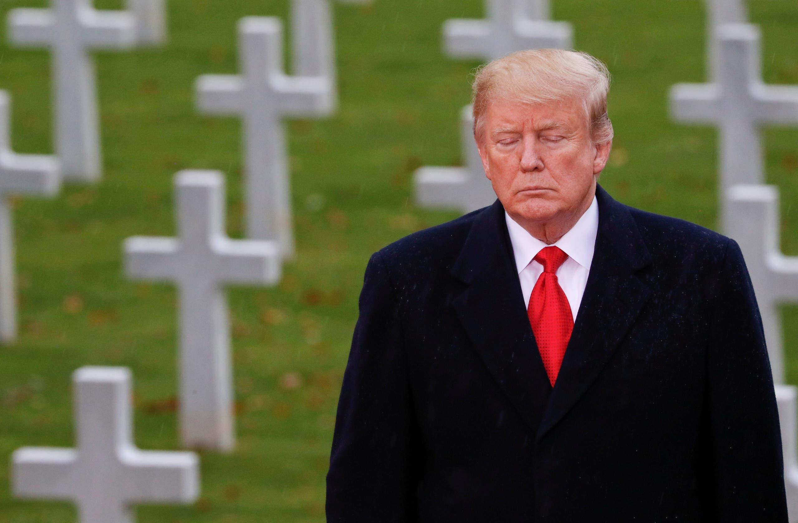 ترمب يزور مدافن الجنود الأميركيين في باريس في نوفمبر 2018