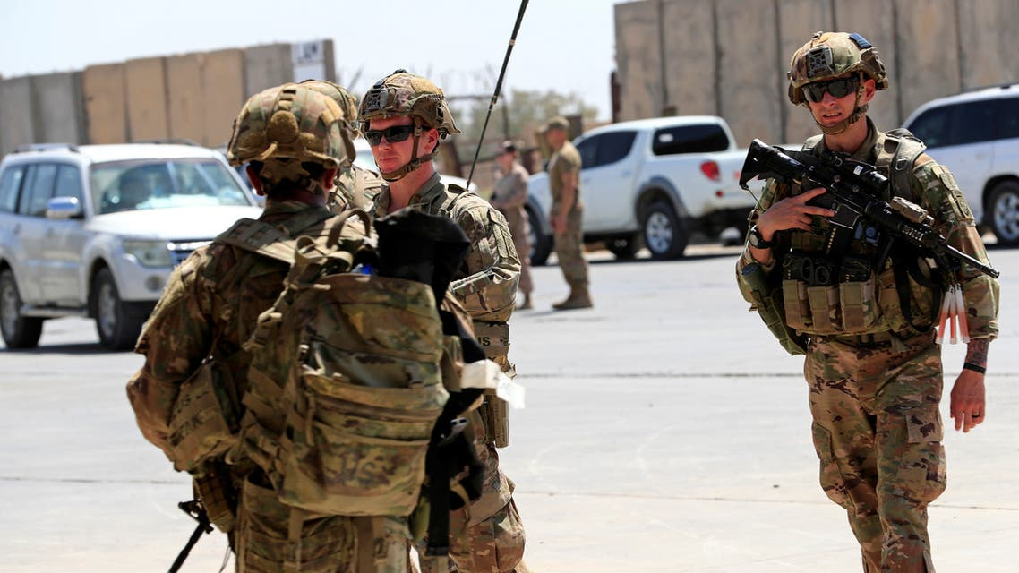 US soldiers are seen during a handover ceremony of Taji military base from US-led coalition troops to Iraqi security forces, Aug. 23, 2020. (Reuters)