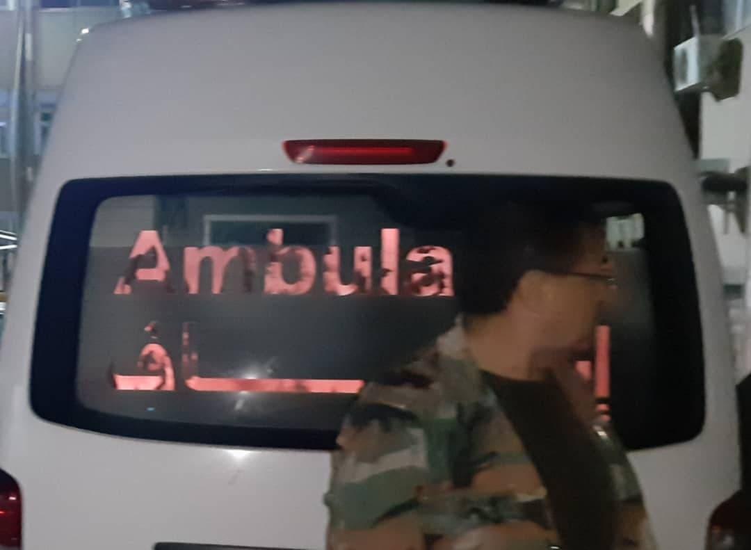 صورة لسيارة الإسعاف التي نشرتها ميليشيات كيالي