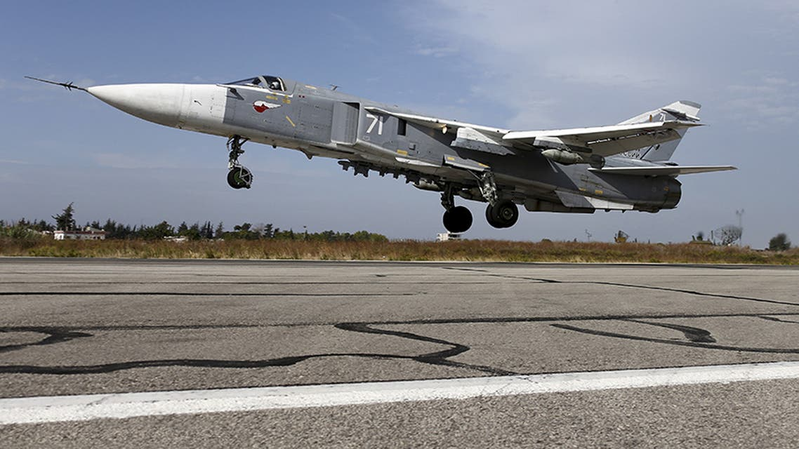 FILES - A Sukhoi Su-24 fighter jet takes off from the Hmeymim air base near Latakia, Syria, in this handout photograph released by Russia's Defence Ministry on October 22, 2015. REUTERS/Ministry of Defence of the Russian Federation/Handout via Reuters ATTENTION EDITORS - THIS PICTURE WAS PROVIDED BY A THIRD PARTY. REUTERS IS UNABLE TO INDEPENDENTLY VERIFY THE AUTHENTICITY, CONTENT, LOCATION OR DATE OF THIS IMAGE. EDITORIAL USE ONLY. NOT FOR SALE FOR MARKETING OR ADVERTISING CAMPAIGNS