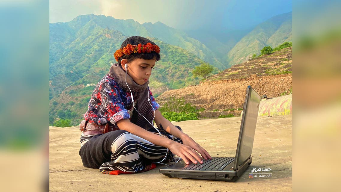 A young Saudi Arabian boy takes part in distance learning in Jazan, Saudi Arabia. (Twitter)