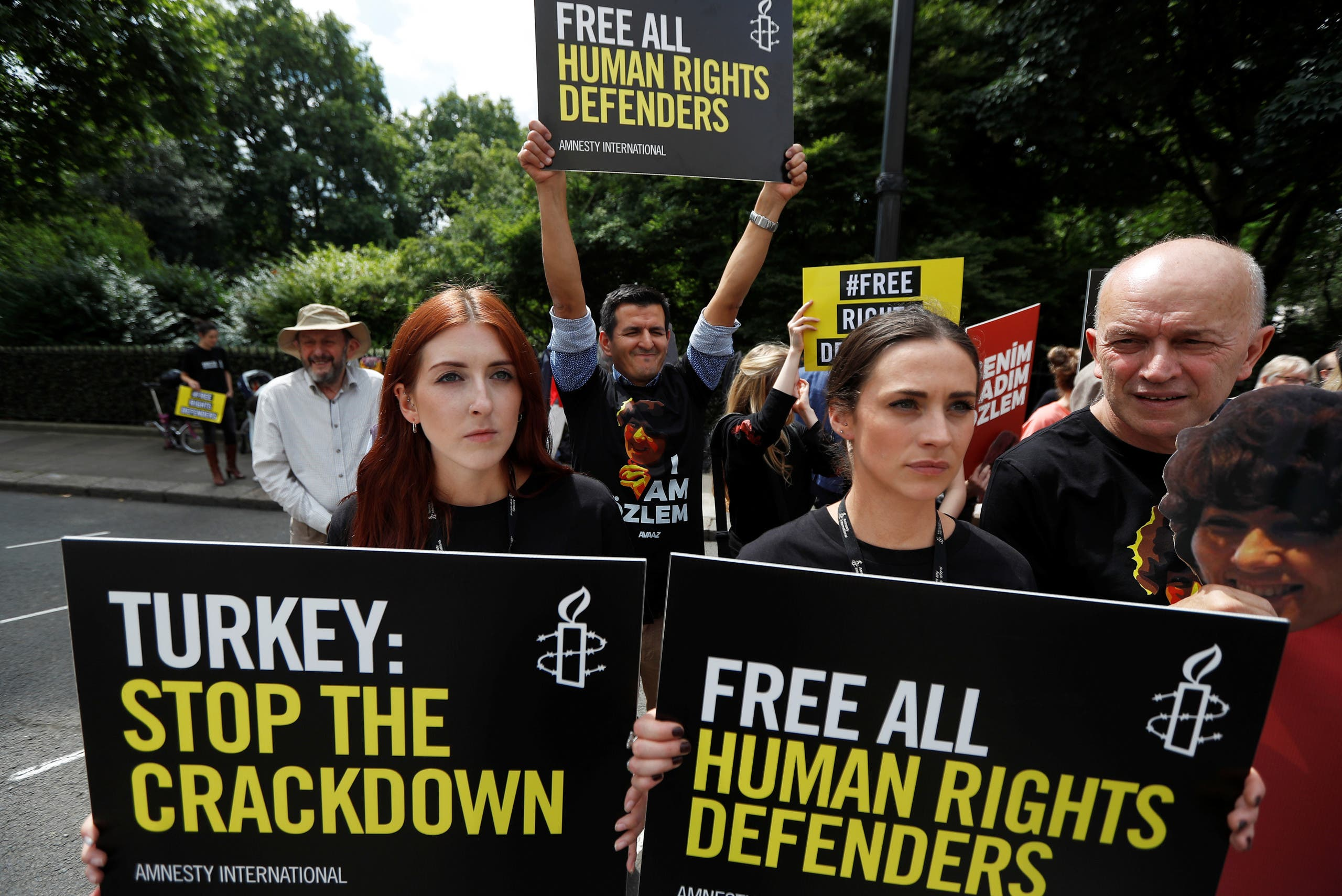 Demonstrators protest outside Turkey's embassy in London, Britain July 25, 2017. (Reuters)