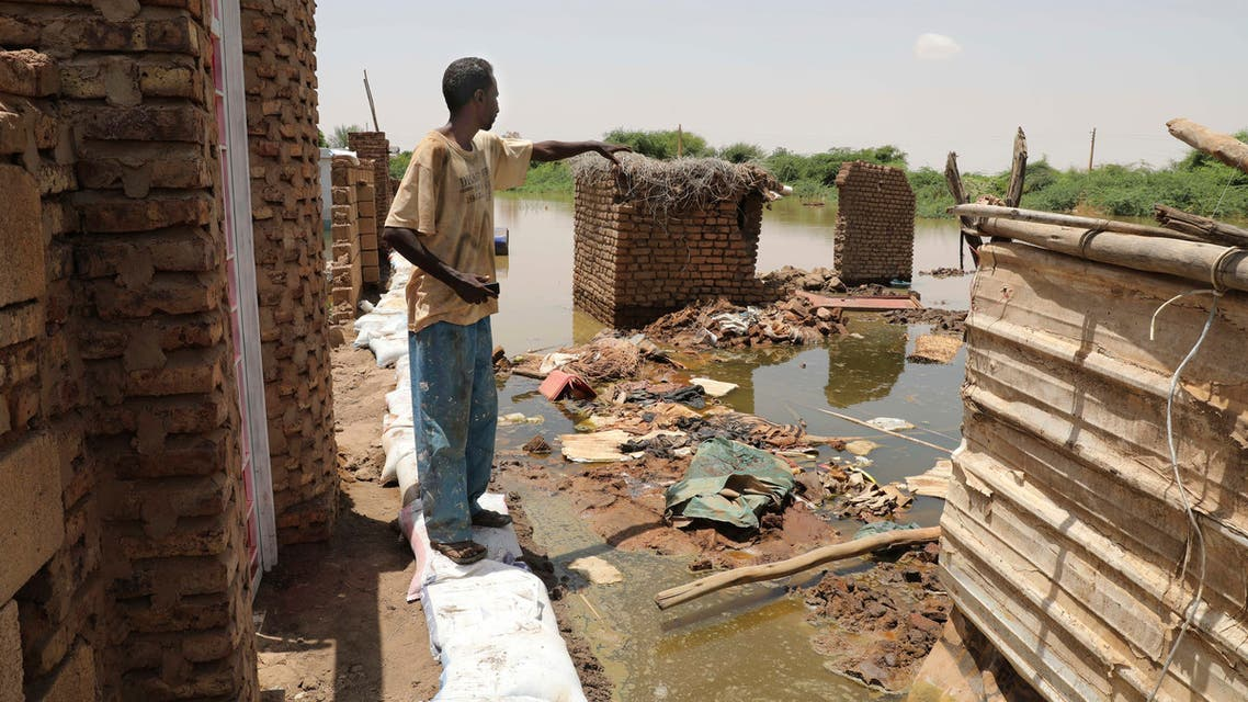 A neighborhood is flooded in the town of Alkadro, about (20 km) north of the capital Khartoum, Sudan, Saturday, Sept. 5, 2020. Sudanese authorities have declared their country a natural disaster area and imposed a three-month state of emergency across the country after rising floodwaters and heavy rainfall killed people and inundated over 100,000 houses since late July. (AP Photo/Marwan Ali)