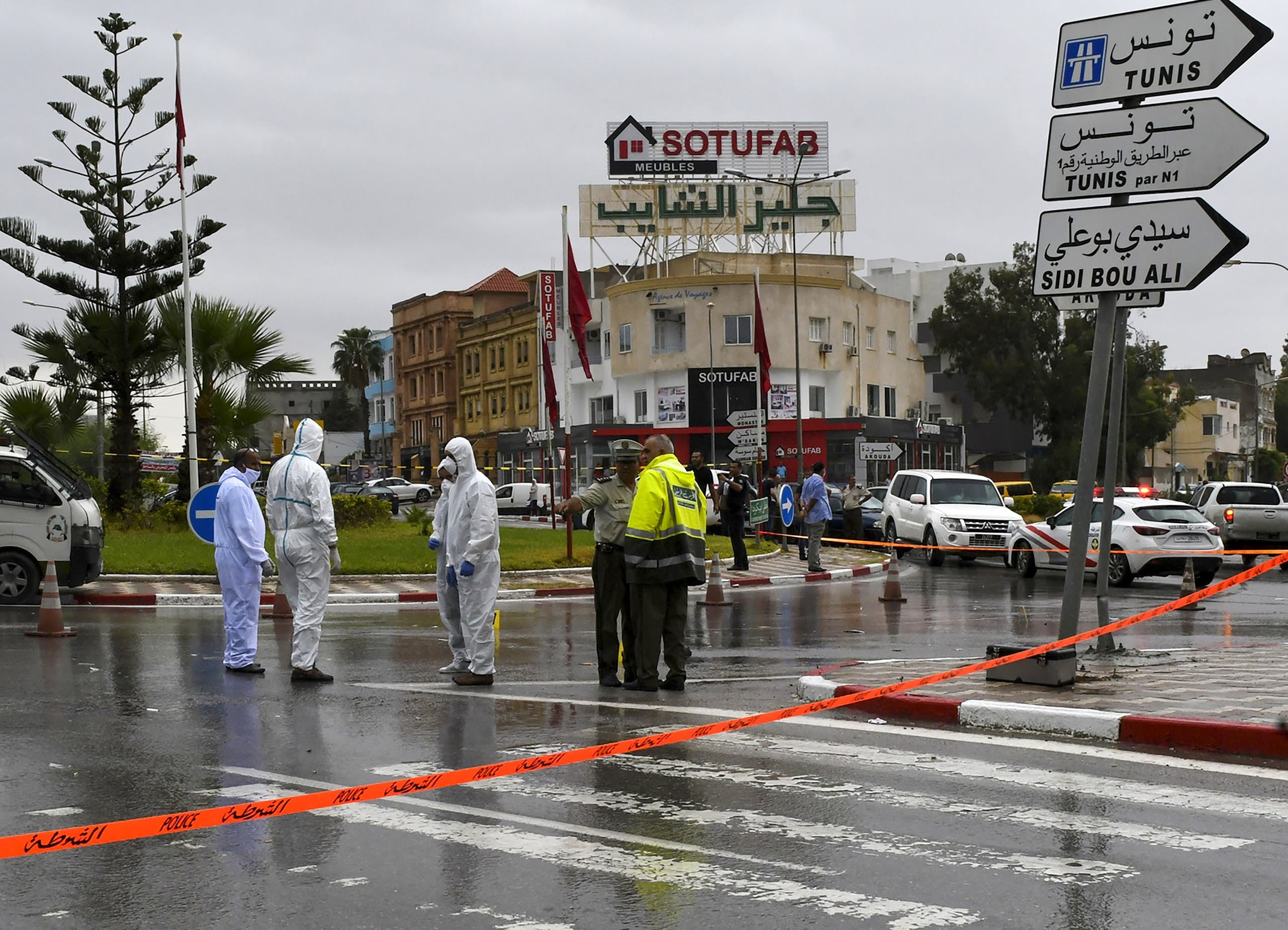 Tunisian forensic police investigate the site of an attack on Tunisian National Guard officers on September 6, 2020, in Sousse, south of the capital Tunis. (File photo)