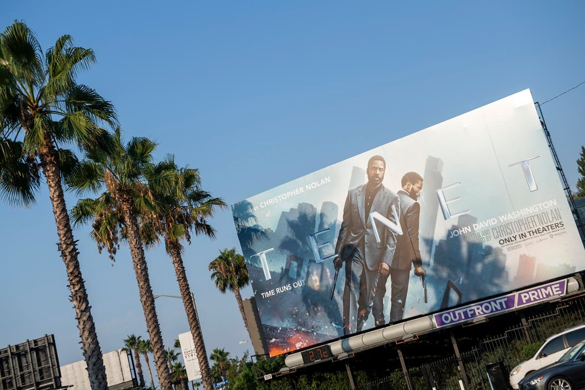 This photo taken on August 19, 2020 shows a billboard for Christopher Nolan's film Tenet on the Sunset Strip, August 19, 2020, in West Hollywood, California. (AFP)