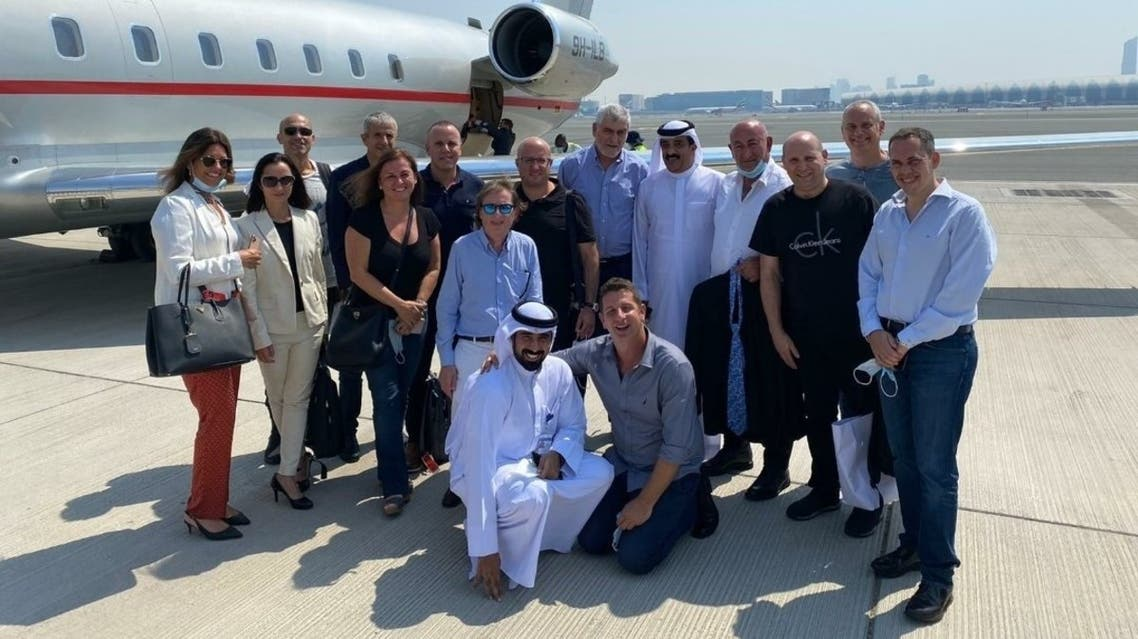 The first Israeli trade delegation to the UAE upon their arrival in Dubai. (Twitter)