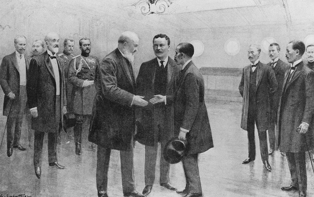 رسم تخيلي يجسد استقبال الرئيس روزفلت للوفدين الروسي والياباني