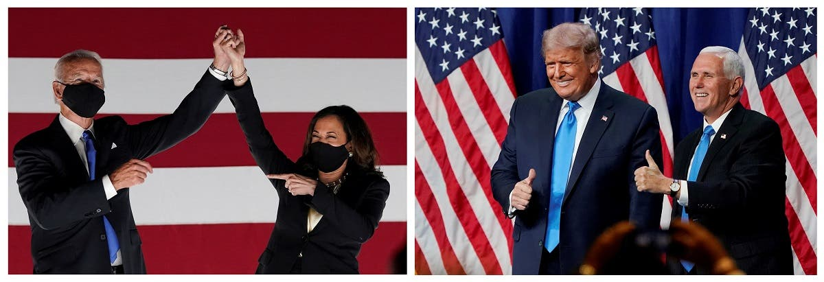 A combination picture shows Democratic presidential candidate Joe Biden, U.S. Senator and Democratic candidate for Vice President Kamala Harris, U.S. President Donald Trump and Vice President Mike Pence. (Reuters)