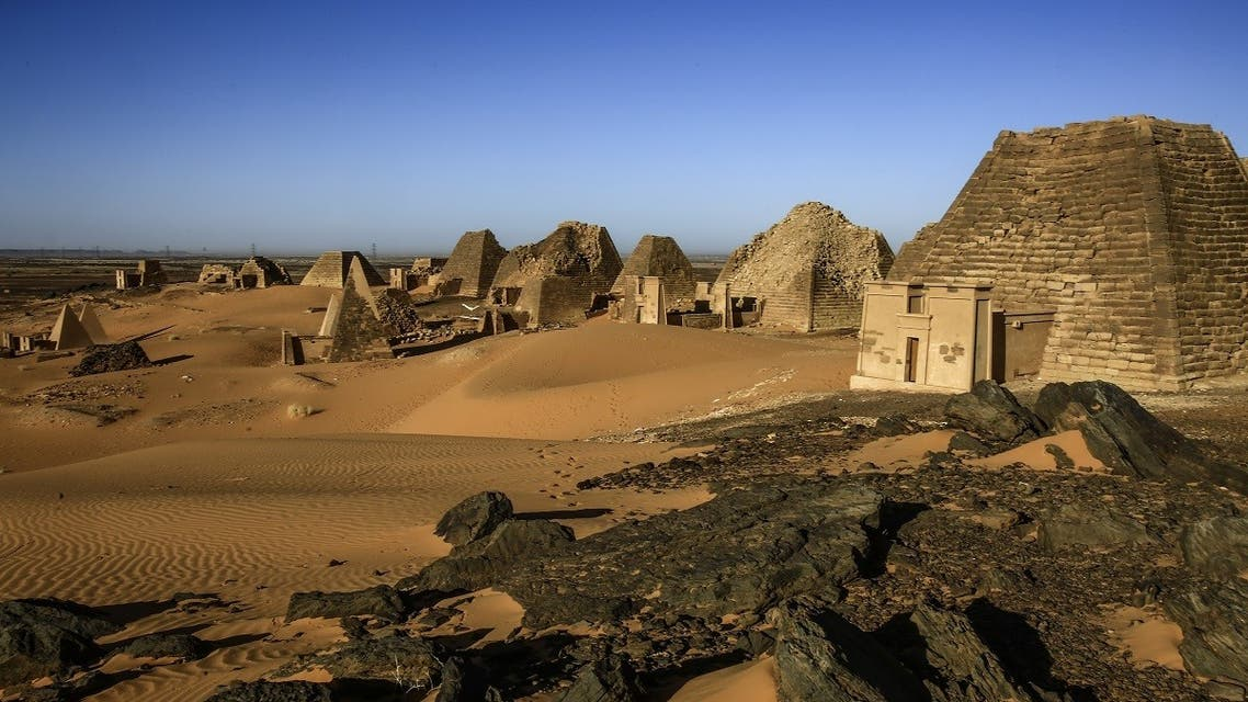 A picture taken on April 4, 2019 shows a partial view of the Meroe pyramids. (AFP)