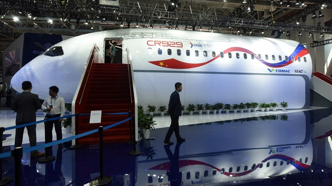 A life-size model of wide-body jet CR929 developed by China-Russia Commercial Aircraft International Corporation (CRAIC), a joint venture between Commercial Aircraft Corporation of China (COMAC) and Russia's United Aircraft Corp (UAC), is seen at the China International Aviation and Aerospace Exhibition, or Zhuhai Airshow, in Zhuhai, Guangdong province, China. (Reuters)