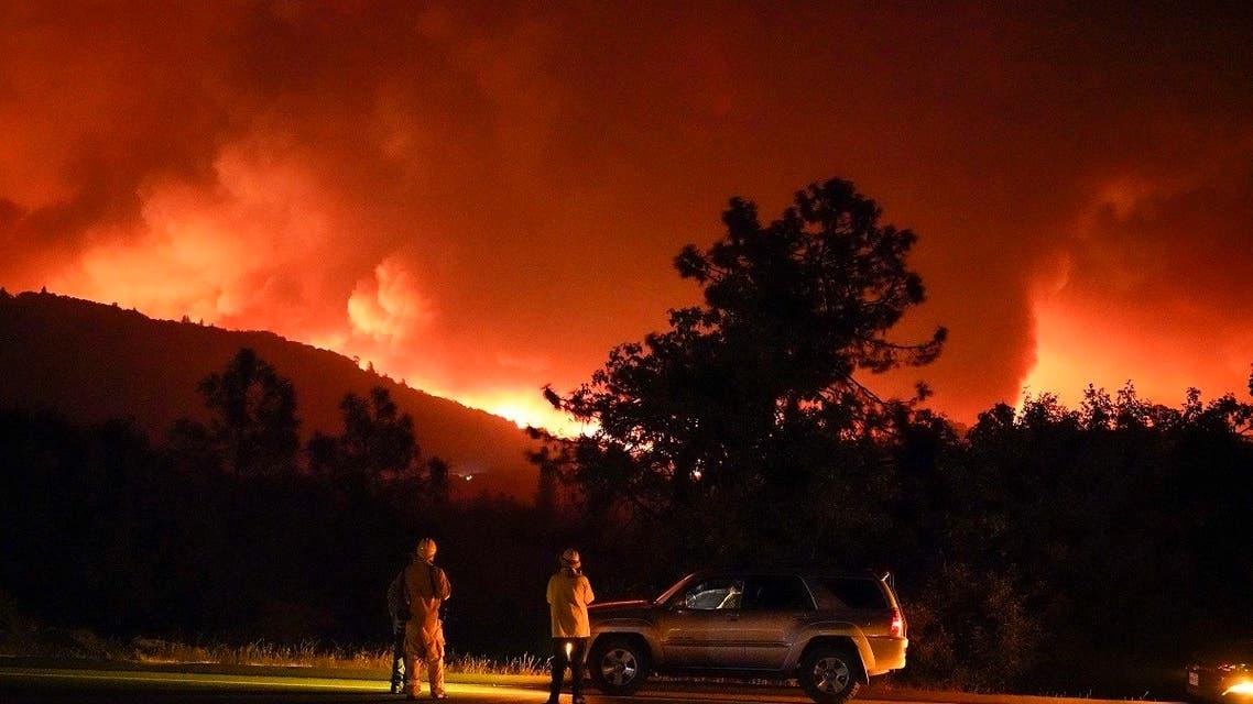 The Creek Fire burns on a ridge top along Highway 168, Sept. 8, 2020, near Alder Springs, Calif. (AP)