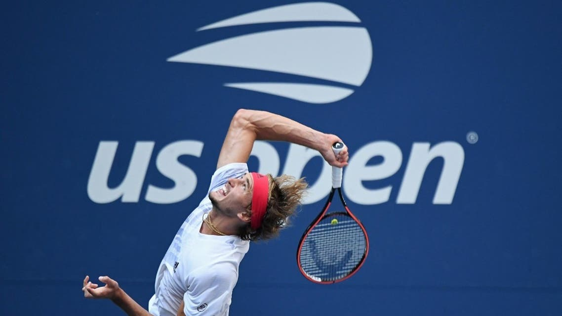 Alexander Zverev of Germany serves against Borna Coric of Croatia (not pictured) in a men's singles quarter-finals match on day nine of the 2020 US Open tennis tournament at Flushing Meadows, New York, USA, on September 8, 2020. (Reuters)