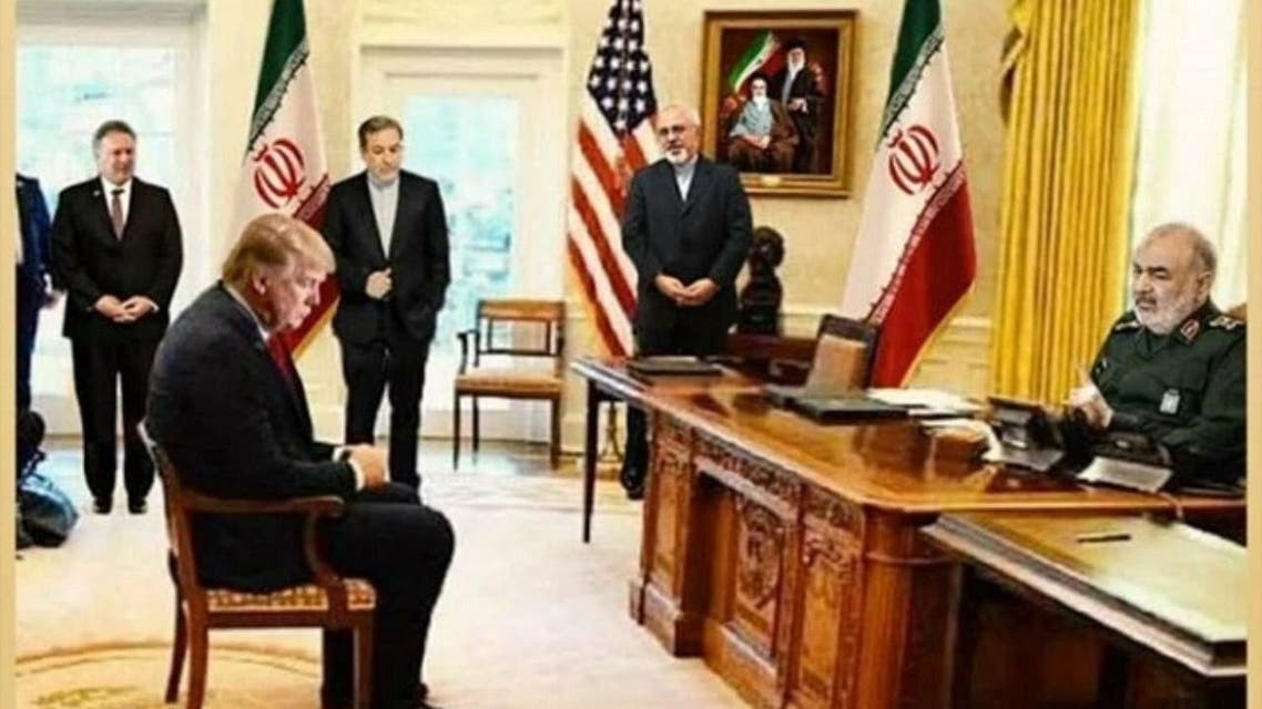 A photoshopped image shows US President Donald Trump with IRGC Maj. Gen. Hossein Salami. (Twitter)