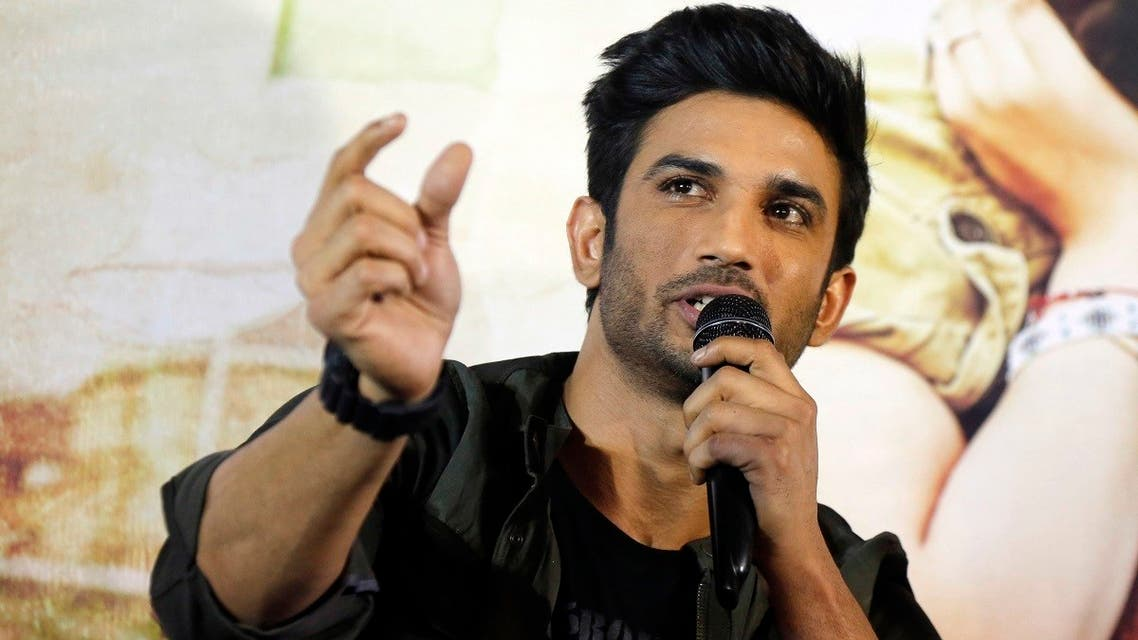 """Bollywood actor Sushant Singh Rajput speaks during a press conference to promote his upcoming movie """"Raabta"""" in Ahmadabad, India, on May 30, 2017. (AP)"""