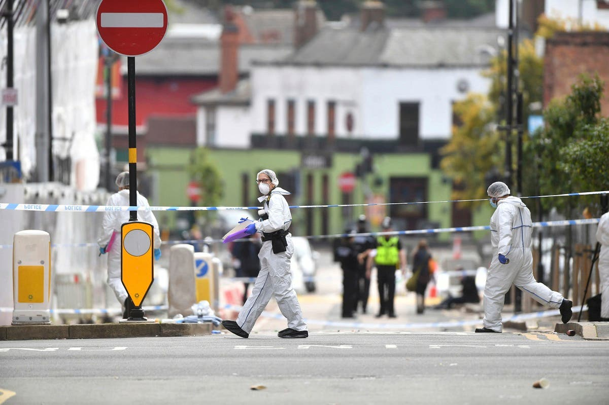 Police forensic officers investigate after stabbings in Birmingham, northern England, Sunday Sept. 6, 2020. (AP)