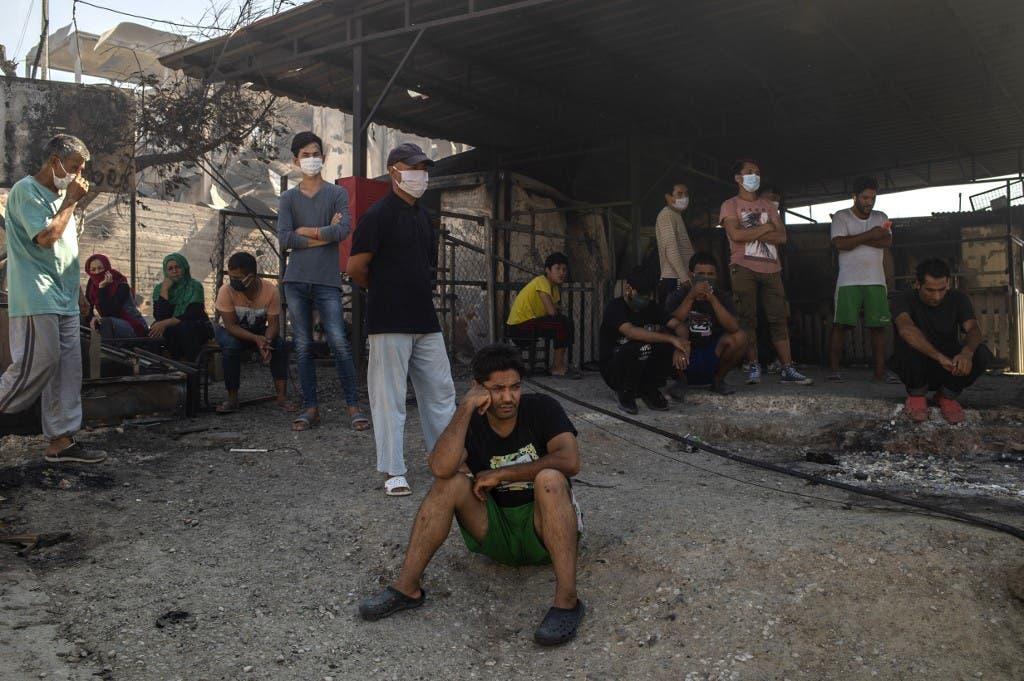 حريق في مخيم موريا بجزيرة ليسبوس اليونانية - فرانس برس 9 سبتمبر