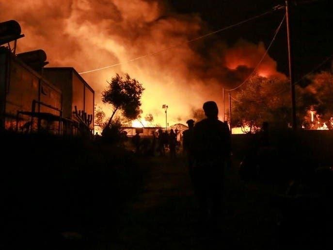 اردوگاه پناهنجویان افغان در یونان طعمه آتش شد