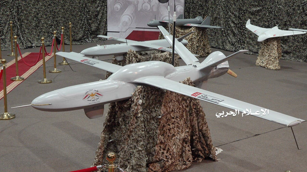 Drone aircrafts are put on display at an exhibition at an unidentified location in Yemen in this undated handout photo released by the Houthi Media Office July 9, 2019. (Reuters)