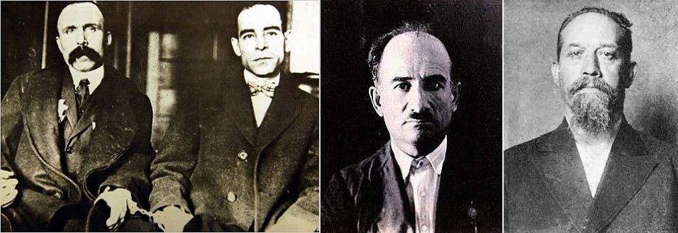من اليمين، لويجي غالياني وماريو بودا، ثم فيلسوفا الحركة نيكولا ساكو وبارتالوميو فانزتي