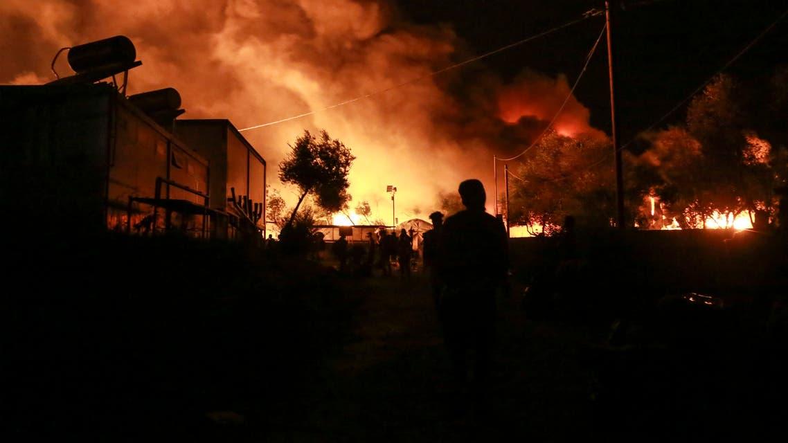 حريق بمخيم موريا في جزيرة ليسبوس اليونانية (فرانس برس)