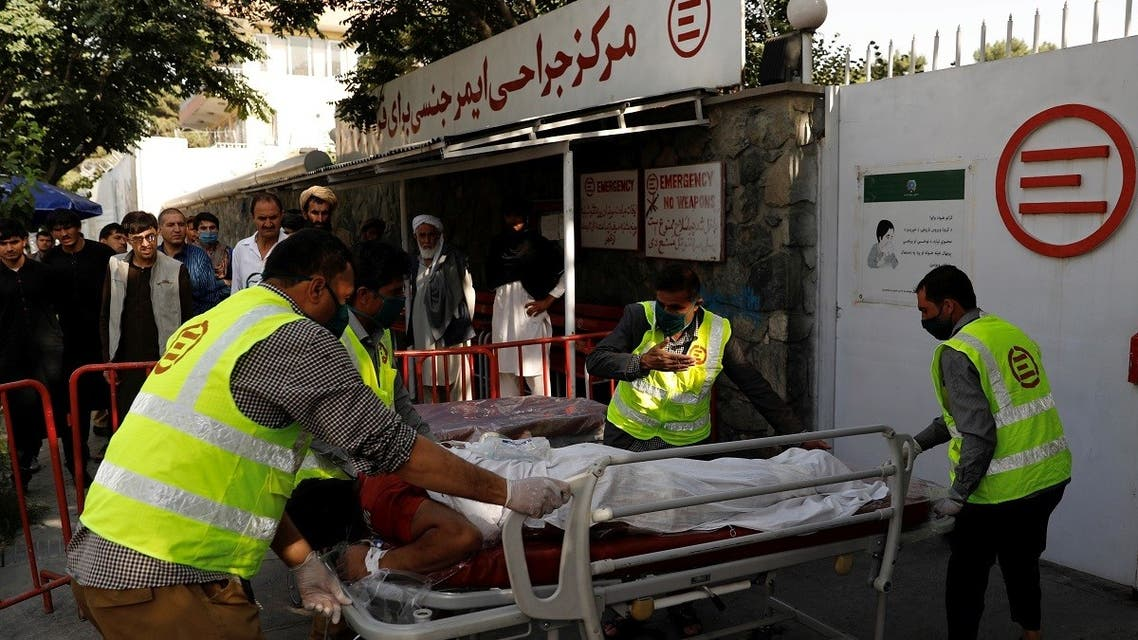 Afghan men carry an injured to a hospital after a blast in Kabul, Afghanistan September 9, 2020. (Reuters)