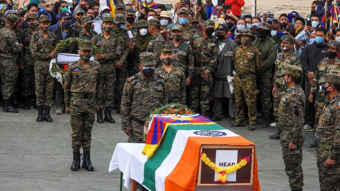 Indian soldiers pay their respects during the funeral of their comrade, Tibetan-origin India's special forces soldier Nyima Tenzin in Leh on September 7, 2020. (AFP)