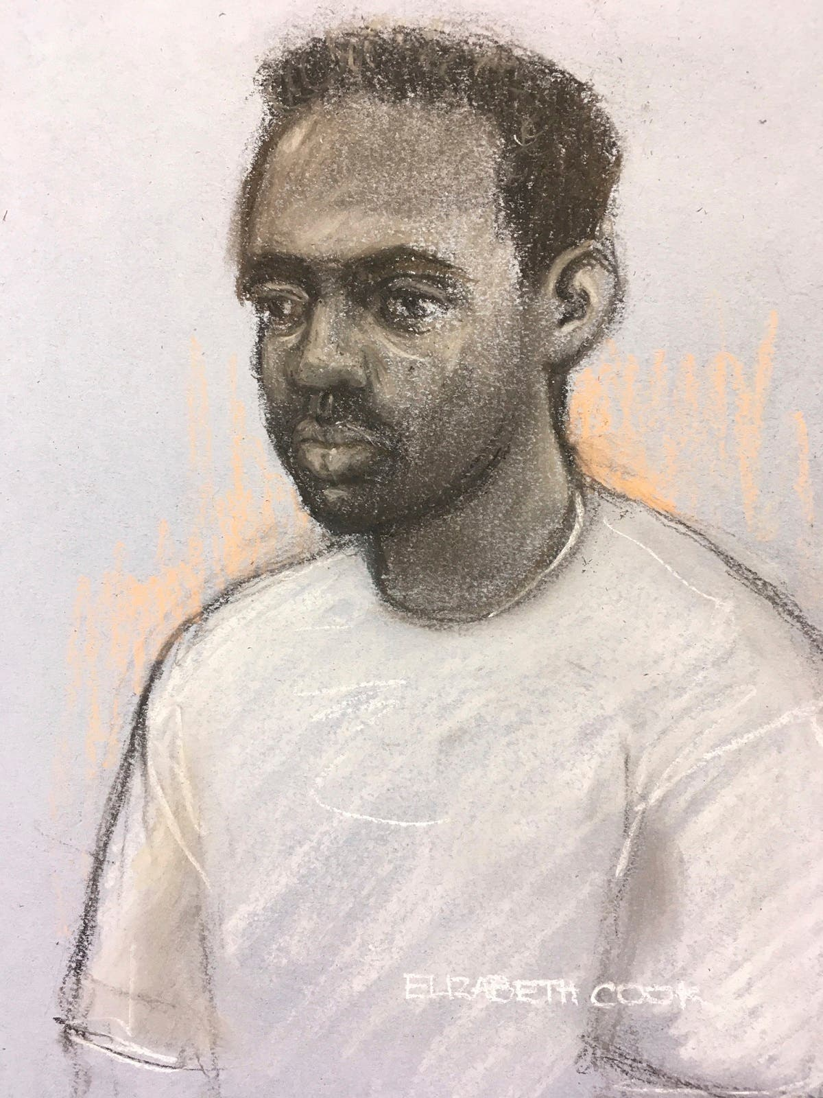 This court artist sketch by Elizabeth Cook shows Zephaniah McLeod appearing by videolink at a hearing at Birmingham Magistrates' Court, Birmingham, England, on September 9, 2020. (AP)