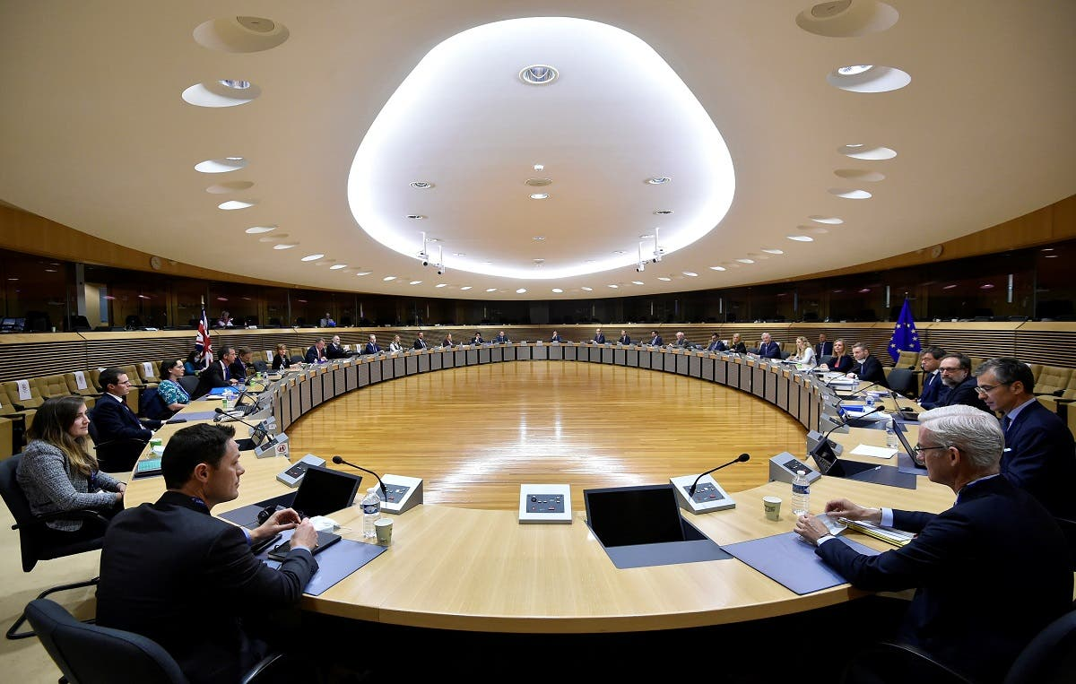 A general view at the start of a round of post-Brexit trade deal talks between the EU and the United Kingdom, in Brussels, Belgium, on June 29, 2020. (Reuters)