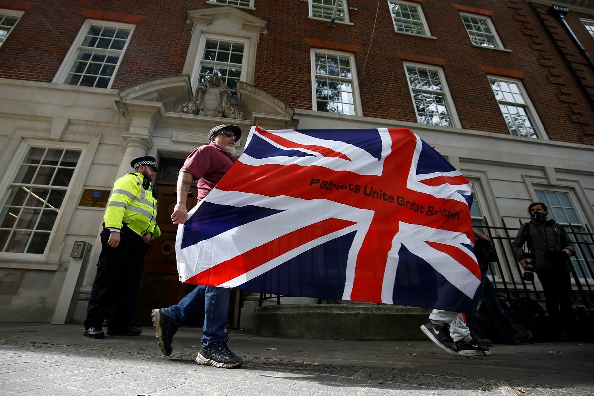 Brexit supporters protest at the Europe House in London, Britain, on September 9, 2020. (Reuters)