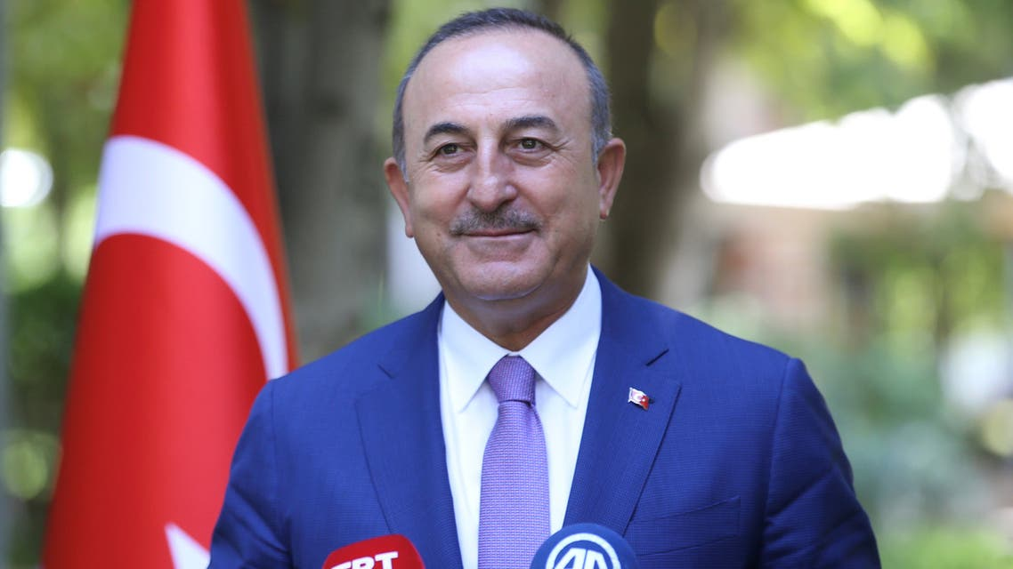 Turkish Foreign Minister Mevlut Cavusoglu speaks to the media in Ankara, Turkey September 4, 2020. Turkish Foreign Ministry/Handout via REUTERS ATTENTION EDITORS - THIS PICTURE WAS PROVIDED BY A THIRD PARTY. NO RESALES. NO ARCHIVE.