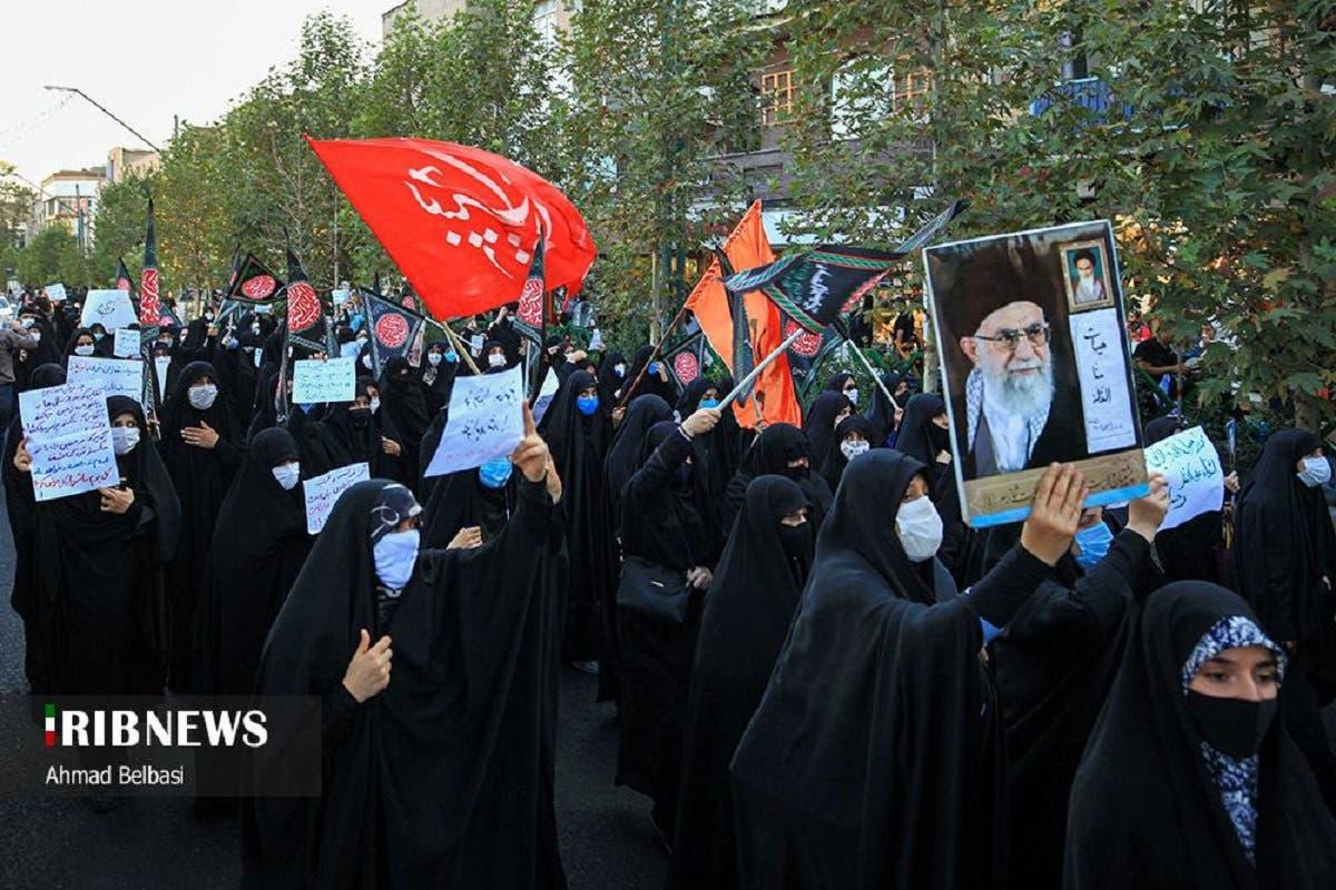 Protesters in Tehran march to condemn Charlie Hebdo cartoons, Sept. 9, 2020. (IRIB)