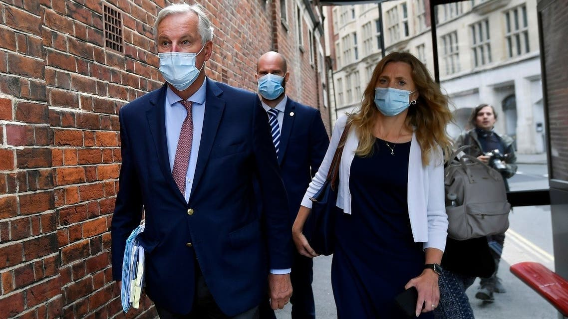 EU chief negotiator Michael Barnier is seen as he attends EU-Brexit talks in central London, Britain, on September 10, 2020. (Reuters)