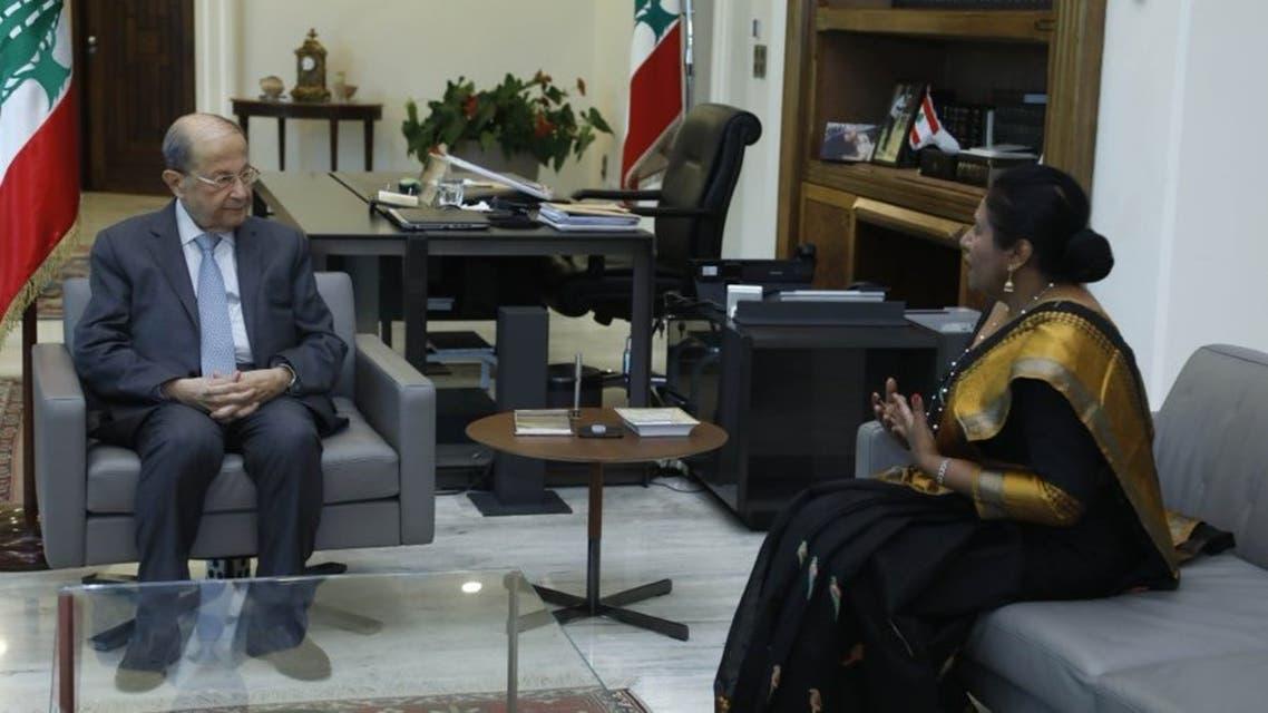 Lebanese President Michel Aoun meets with Sri Lankan Ambassador to Lebanon Shani Calyaneratne Karunaratne. (Lebanese Presidency via Twitter)