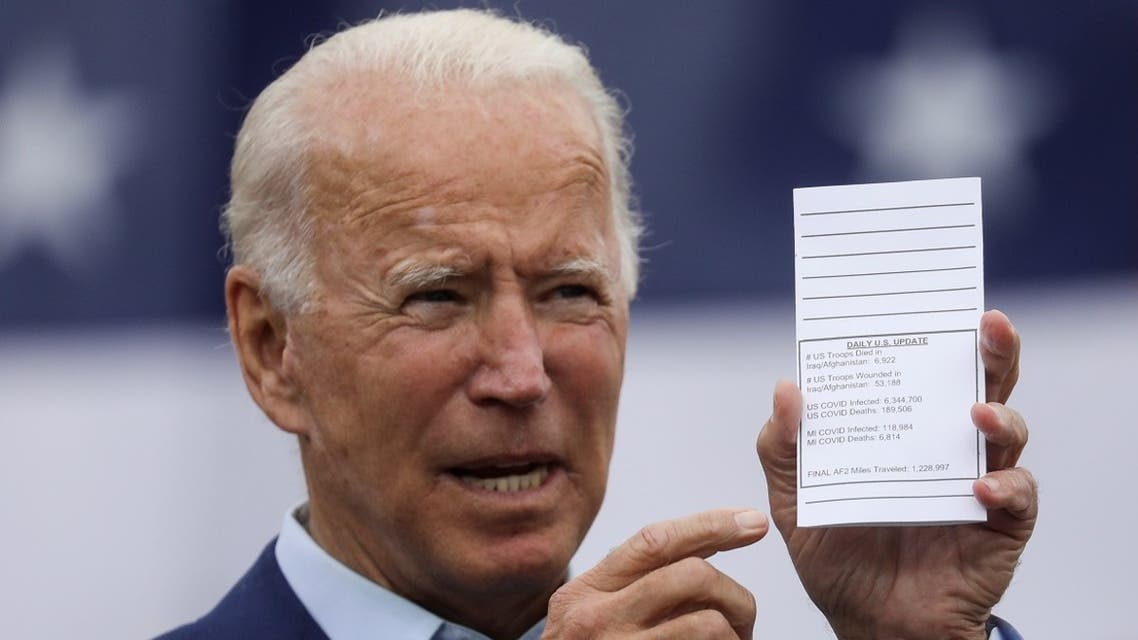 Democratic presidential nominee Joe Biden shows a copy of his schedule and notes during a campaign event in Michigan, Sept. 9, 2020. (Reuters)