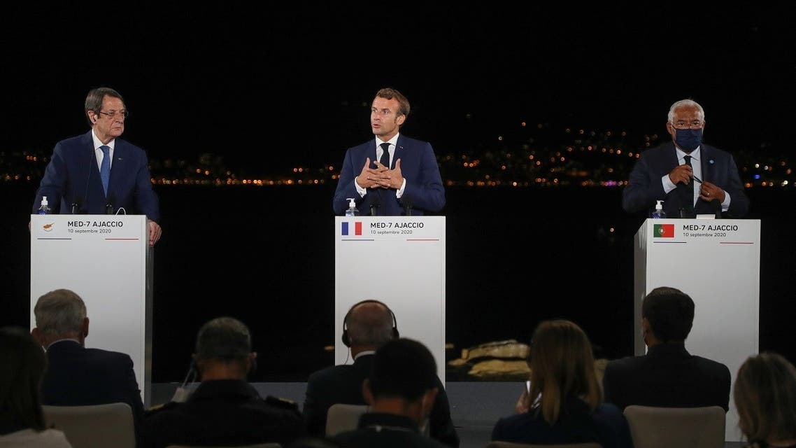 French President Emmanuel Macron (C) speaks during the closing press conference of the seventh MED7 Mediterranean countries summit with Cyprus President Nikos Anastasiadis and Portugal's Prime Minister Antonio Costa. (AFP)